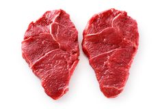Fresh raw beef steaks isolated on white background. With clipping path Stock Image