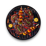 Fresh raw beef steaks placed on grill, isolated on white backgro. Fresh raw beef steaks and skewers with vegetable placed on grill, isolated on white background Stock Photo