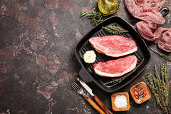 Fresh raw beef steaks Royalty Free Stock Photos