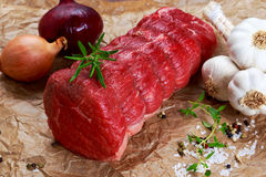 Fresh Raw beef tenderloin steak meat ready to cook. With herbs Royalty Free Stock Photo
