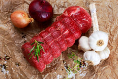 Fresh Raw beef tenderloin steak meat ready to cook. With herbs Stock Photo