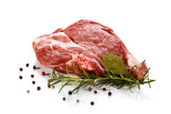 Fresh raw beef. Fresh beef and vegetables on white background Royalty Free Stock Image