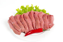 Fresh raw beef. On white background Stock Photos