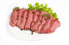 Fresh raw beef. On white background Royalty Free Stock Images