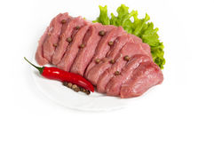 Fresh raw beef. On white background Stock Images