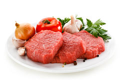 Fresh raw beef. Fresh beef on white background Stock Photography