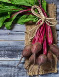 Fresh raw beetroot on wooden background. Selective focus Stock Photo