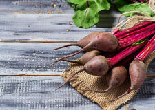 Fresh raw beetroot on wooden background. Selective focus. Space for text Stock Photo