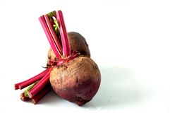 Raw Beetroots on White Background. Fresh raw beetroots on white background royalty free stock image
