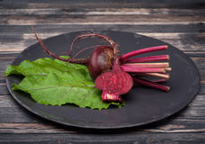 Fresh raw beets. Raw beets on wooden background Royalty Free Stock Photo