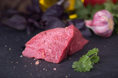 Fresh raw beef with vegetables. Fresh raw beef fillet with vegetables on background Royalty Free Stock Photography