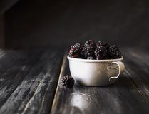 Fresh raw blackberries in metal cup, selective focus. Fresh raw ripe blackberries in a metal cup on black wooden table, selective focus, space for text Stock Photos