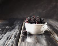 Fresh raw blackberries in metal cup, selective focus. Fresh raw ripe blackberries in a metal cup on black wooden table, selective focus, space for text Royalty Free Stock Image