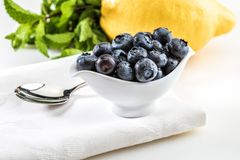 Fresh and raw blueberries in delicate porcelain bowl on white napkin and spoon. royalty free stock image
