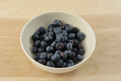 Fresh raw blueberries. In white bowl on wooden table Royalty Free Stock Photo