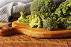 Fresh raw broccoli. On cutting board Royalty Free Stock Photography