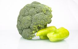 Fresh Raw Broccoli and Green Pepper Stock Images