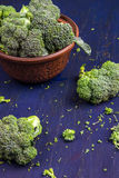 Fresh raw broccoli. On a wooden table Stock Photo