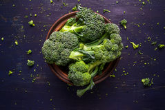 Fresh raw broccoli. On a wooden table, top view, copy space Royalty Free Stock Photography