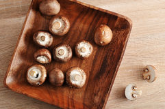 Fresh raw brown chestnut mushrooms whole in square wooden plate Royalty Free Stock Photos