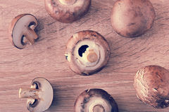 Fresh raw brown chestnut mushrooms whole on wooden background Royalty Free Stock Image