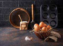Fresh raw brown eggs in bowl. Selective focus Royalty Free Stock Photo