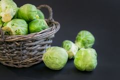 Fresh raw brussels sprouts on a wooden table. Top view with copy space. Dark background. table. Fresh raw brussels sprouts on a wooden table Stock Photography