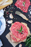 Fresh raw burger cutlets and beaf meat Stock Images