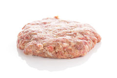 Fresh raw burger cutlets. Isolated on white background Stock Image