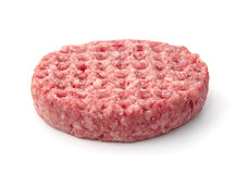 Fresh raw burger patty. Isolated on white Royalty Free Stock Photography