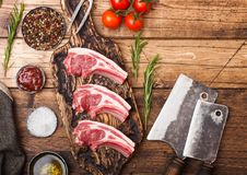 Fresh raw butchers lamb beef cutlets on chopping board with vintage meat hatchets on wooden background.Salt, pepper and oil with. Tomatoes and garlic and royalty free stock image