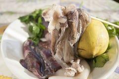 Fresh raw calamari. On a white dish Royalty Free Stock Photo