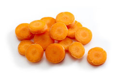 Fresh raw carrot. Fresh raw chopped carrot on a white background Stock Images