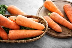 Fresh raw carrot. On table Royalty Free Stock Photography