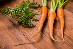 Fresh raw carrot. Ripe fresh raw carrot with leaf on wooden background Royalty Free Stock Photo