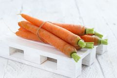 Fresh raw carrots. From a farmer`s market on a wooden table Stock Images