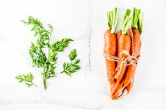 Fresh raw carrots. With green leaves, white marble background copy space top view Royalty Free Stock Photography