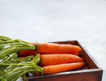 Fresh raw carrots with leaves. In a box with copy space Royalty Free Stock Photo