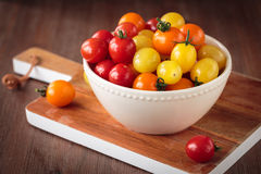 Fresh raw cherry tomatoes. Colorful assortment of different kind of cherry tomatoes Stock Image