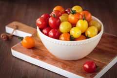 Fresh raw cherry tomatoes. Colorful assortment of different kind of cherry tomatoes Stock Photos