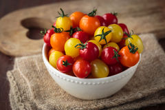 Fresh raw cherry tomatoes. Colorful assortment of different kind of cherry tomatoes Royalty Free Stock Images