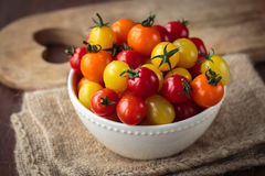 Fresh raw cherry tomatoes. Colorful assortment of different kind of cherry tomatoes Stock Images