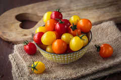 Fresh raw cherry tomatoes. Colorful assortment of different kind of cherry tomatoes Stock Photo