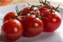 Fresh raw cherry tomatoes on plate. Close up of some fresh raw cherry tomatoes on white plate Royalty Free Stock Photo