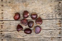 Fresh raw chestnuts. On a wooden background Royalty Free Stock Photos