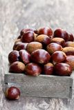 Fresh  raw chestnuts in a  wooden box on wooden background Stock Photo