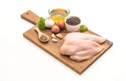 Fresh raw chicken breast fillet. Isolated on white background Stock Images