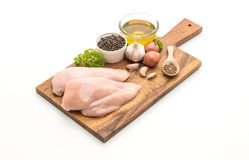 Fresh raw chicken breast fillet. Isolated on white background Stock Photo
