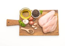 Fresh raw chicken breast fillet. Isolated on white background Stock Photography
