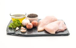 Fresh raw chicken breast fillet. Isolated on white background Royalty Free Stock Photography